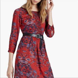 Lucky Brand Red + Blue Long Sleeve Dress